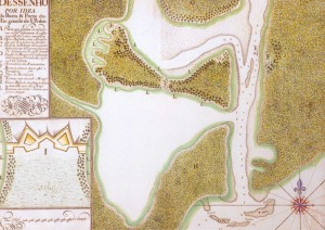 Mapa Rio Grande Barra (José da Silva Paes-Arquivo Histórico Ultramarinho-Lisboa) 1737