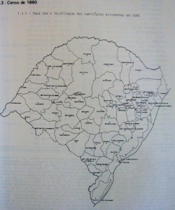 Mapa Rio Grande do Sul censo 1890