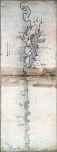 Mapa do litoral sul do Brasil desde a enseada das Garopas, em Santa Catarina até Lagoa dos Patos sécXIX