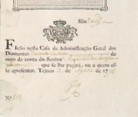 Bilhete Cada da Adm Geral dos Diamantes 200 oitavas ouro Tejuco 1778