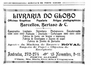 Propaganda Alamanaque de Porto Alegre Livraria do Globo 1920