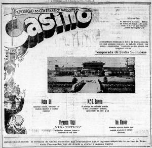 Propaganda Anúncio Cassino Centenário Farroupilha(Jornal A Federação) 1935