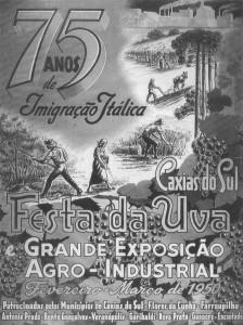 Propaganda Cartaz Festa da Uva 75 anos Imigração Itálica 1950