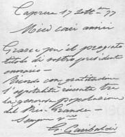 Giussepe Garibaldi carta de agradecimento à Associação Vittorio Emanuele II