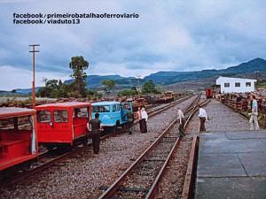 Roca Sales Militares e autoridades embarcando no carro de linha do 1ºBFV junto a estação déc1970
