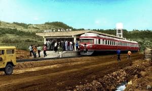 Roca Sales Trem minuano parado na estação final déc1960
