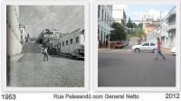Passo Fundo Esquina das Ruas Paissandú e General Netto em duas épocas 1953 e 2012