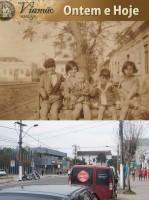 Viamão Crianças da família Gattino na Coronel Marcos déc1930 e atual(foto Paulo Lilja)