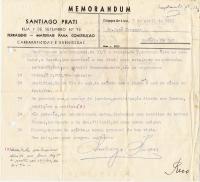 Memorandum de SantiagoPrati para JoséTavares frente