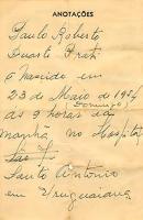 Anotacao Nacimento Paulo 1954