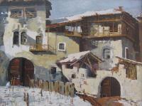 Claudio Cecconi Prati Caldonazzo olio su tela1972