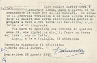 Edmondo Prati Retro Cartolina in cui si cita il regalo di Aurora Prati