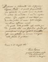 Eugenio Prati Lettera Carlo Blaas in cui attesta i meriti